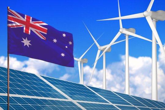 Australia solar and wind energy, renewable energy concept with solar panels - renewable energy against global warming - industrial illustration, 3D illustration