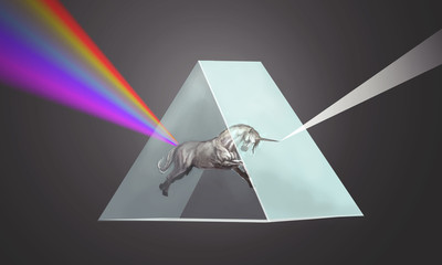 unicorn bending the light in prism