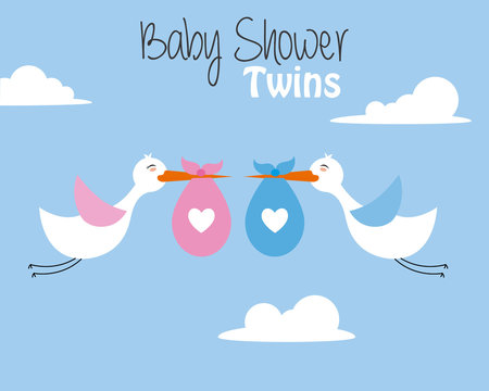 twin baby shower card. storks with baby girl and boy