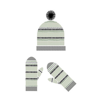 Knitted hat and mittens. Hand-drawn winter hat and mittens with patterns. Vector illustration.