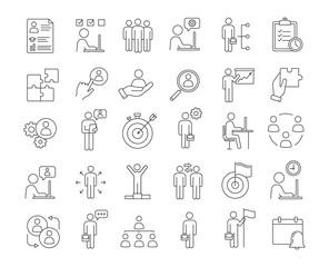 Business management linear icons set