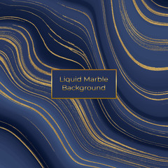 Liquid marble texture. Blue and golden glitter ink painting abstract pattern. Trendy background for wallpaper, flyer, poster, card, invitations. Modern art.