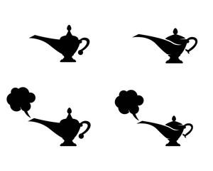 magic lamp genie icon logo template