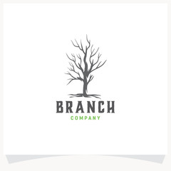 Branch Tree Hand drawn Logo Design Template