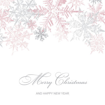 Christmas Card with Pink Snowflakes, Vector Illustration