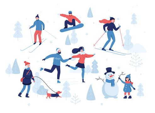 People having winter activities in park, skiing, skating, snowboarding, girl walking the dog, girl making a cute snowman, cartoon characters in flat design isolated on white. Vector illustration.
