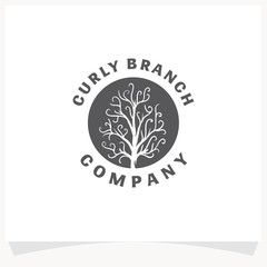 Swirl Tree Hand drawn Logo Design Template