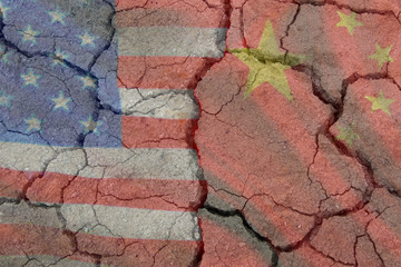 Flags China and America US trade war tariffs contradict two opposite trading partners of the economic concept of import and export.