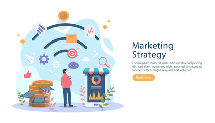 digital marketing strategy concept with tiny people character. online ecommerce business in modern flat design template for web landing page, banner, presentation, social media. Vector illustration.