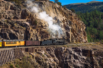 Historic steam engine train in Colorado, USA