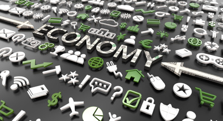 """economy"" word with 3d icons"