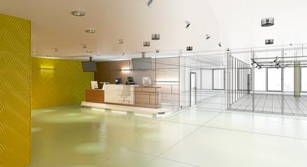 Centro commerciale, vendita, elettronica, illustrazione 3d