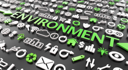 """environment"" word with 3d icons"