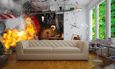 Esplosione in ambiente domestico, catastrofe, elicottero, illustrazione 3d