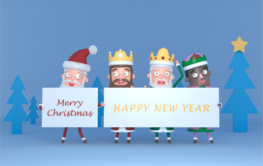 Santa Claus  and Tree Magic Kings  holding a placard with Greetings.