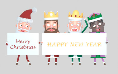 Three Magic Kings  and Santa Claus holding a placard with Greetings. Isolated.