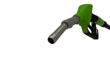 Erogatore di una pompa di benzina isolato su sfondo bianco, illustrazione 3d