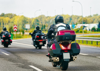 Motorcycles in highway road in Poland