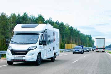Camper rv on road Poland