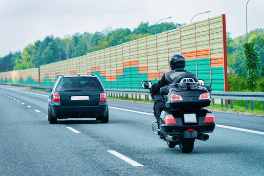 Motorcycles at highway road in Poland