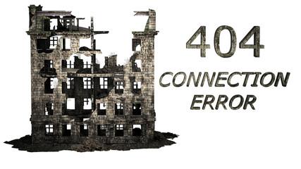 Pagina non trovata, siti internet, casa distrutta, illustrazione 3d