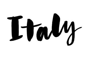 slogan Italy hand lettering. Name of country. Ink illustration. Modern brush calligraphy. Isolated on white background. Vector