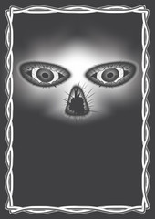 vector Gothic pattern on black background. part of the skull with eyes and cracks. interlacing ornament frame.