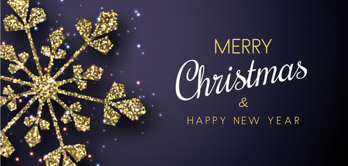 Merry Christmas and Happy New Year banner with golden shiny snowflake.