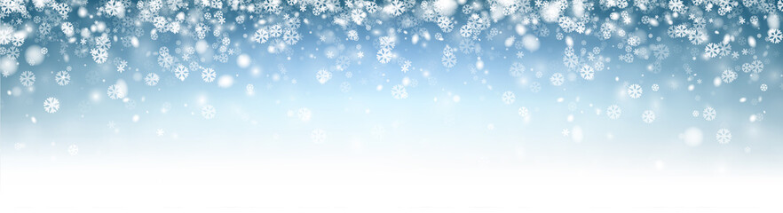 Blue abstract shiny winter banner with snowflakes.