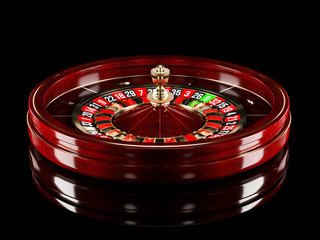 Casino roulette wheel isolated on black background. 3d rendering realistic illustration. Online casino roulette gambling concept design.