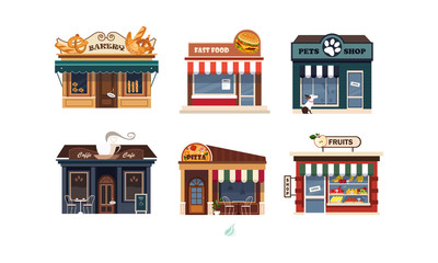 Facades of various shops set, bakery, fast food, pets shop, pizza, fruits vector Illustration on a white background