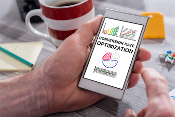 Conversion rate optimization concept on a smartphone