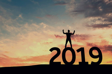 Happy new year 2019. New year resolution goals. 3D Rendering