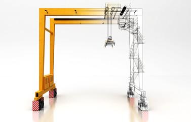 Carroponte con gancio isolato su sfondo bianco, illustrazione 3d, Settore Costruzioni