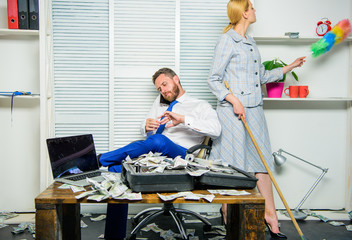 Woman cleaning up office while boss counting money. Equal rights for education work and salary. Gender discrimination in business life. Female discrimination at workplace. Discrimination concept