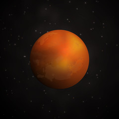 Red Planet Mars in space. Vector illustration