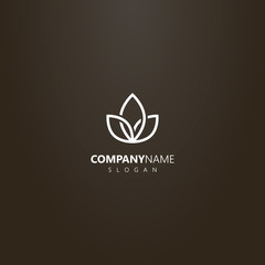 white logo on a black background. vector geometric flower logo of three interlaced petals