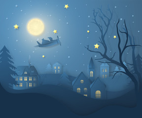 Photo sur Aluminium Bleu jean Vector winter night landscape with fir trees, houses, moon, santa on airplane, stars and snow in paper cut style. Dark festive layered background with 3D realistic paper Christmas Village and snowfall