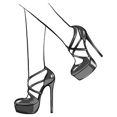 Vector girls in high heels. Fashion illustration. Female legs in shoes. Cute design. Trendy picture in vogue style. Fashionable women. Stylish ladies.