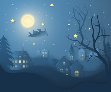 Vector winter night landscape with fir trees, houses, moon, santa on airplane, stars and snow in paper cut style. Dark festive layered background with 3D realistic paper Christmas Village and snowfall