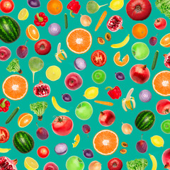 Pattern of vegetables and fruits Food background Top view Composition of plums, peppers, cucumbers, green radish, tomatoes, apples, banana, lemon and orange, watermelon, pomegranate on mint background