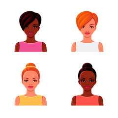 Afro-American and red-haired girls with various hairstyles. Avatar faces. Vector cartoon isolated illustrations