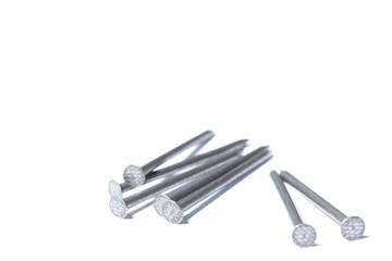 steel nails isolated on white background with copy space