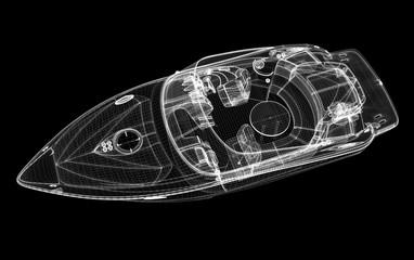 Motoscafo, yacht, illustrazione 3d
