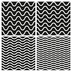 Vector Tile seamless pattern set with white and black wavy background