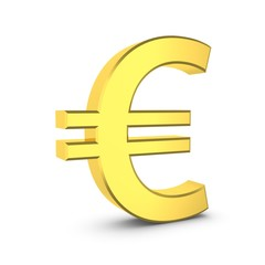 Golden euro sign on a white.