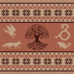 Knit seamless woolen ornament with Celtic totem animals and the Tree of Life
