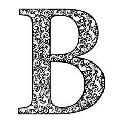 Illustration letter B letter black with white ornament