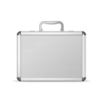 Realistic 3d Detailed Blank Aluminum Suitcase. Vector