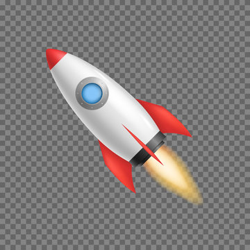 Realistic 3d Detailed Rocket Space Ship. Vector